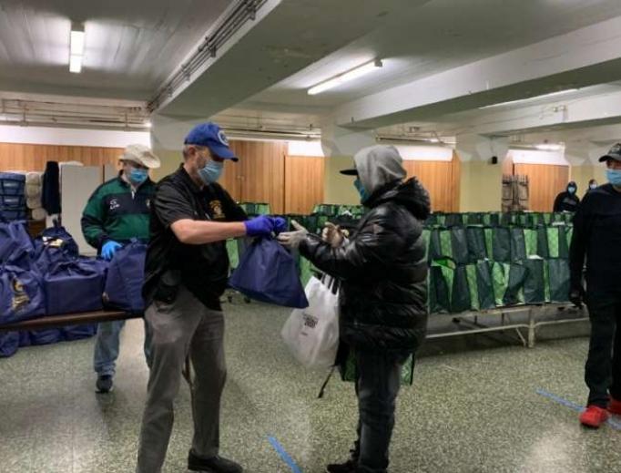 Catholic Charities distribute food at St. Michael – St. Malachy Parish, Brooklyn. April 24, 2020.