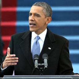 President Barack Obama gives his inauguration address during the public ceremonial inauguration Jan. 21 on the West Front of the U.S. Capitol.