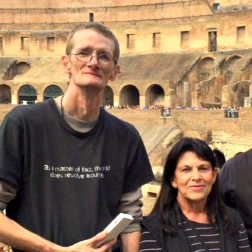 Derrick Yearout (left) inside the Colosseum on a recent pilgrimage to Rome.
