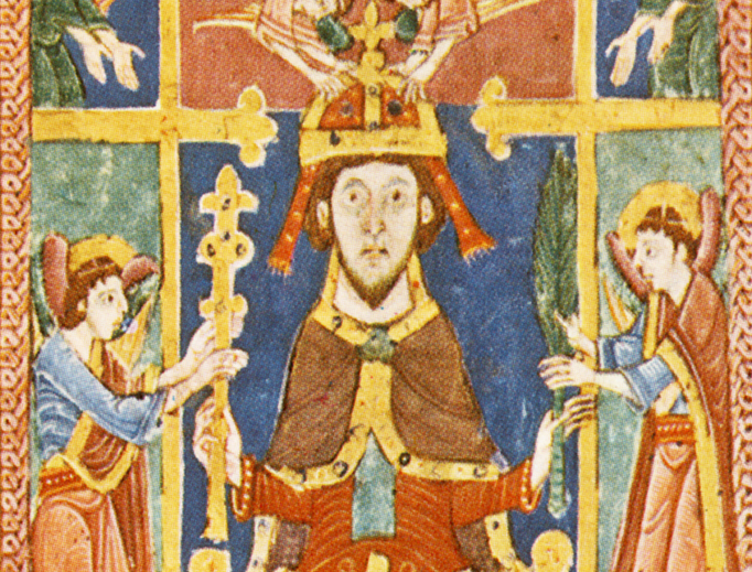 """""""St. Edmund the Martyr Crowned by Angels,"""" from a manuscript of Bury St. Edmunds, c. 1130"""