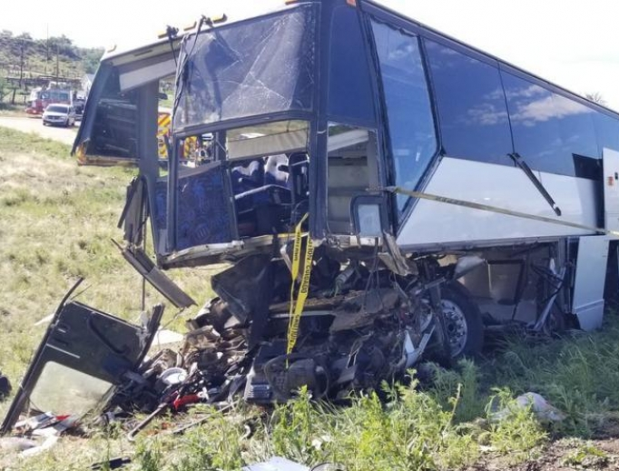 A charter bus crashed on the interstate outside Pueblo, Colorado, June 23, 2019.