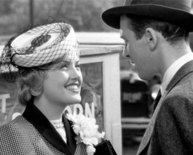 Virginia Patton Moss as Ruth Dakin Bailey meets her new brother-in-law George Bailey, played by Jimmy Stewart.