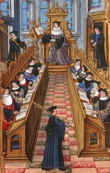 """A meeting of doctors at the university of Paris. From the """"Chants royaux"""" manuscript, 1537. (Bibliothèque Nationale, Paris)"""