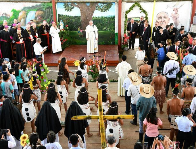 Pope Francis meets with indigenous Peruvians at 'Hogar Principito' Children's home, in Puerto Maldonado, Jan. 19.