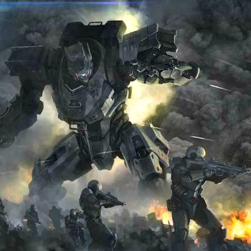 An imaginative rendering of a fully automated war machine on the battlefield.