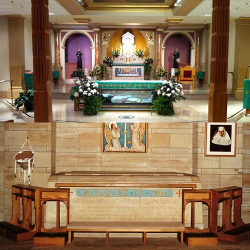 Top photo, St. John Neumann shrine crypt; bottom photo, St. Katharine Drexel shrine crypt