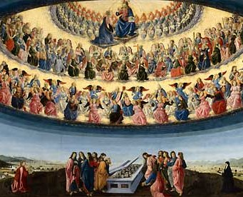 Botticini's rendering of Mary's Assumption places it in the context of the entire Church triumphant, celebrated today on All Saints' Day.
