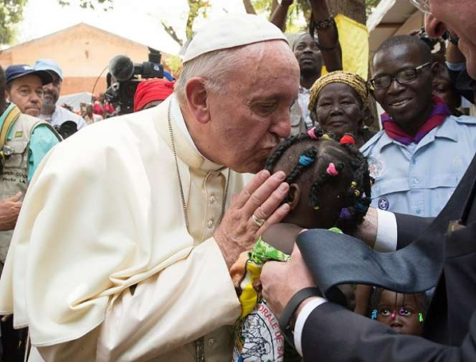 Pope Francis visits a refugee camp in Bangui, CAR on Nov. 29, 2015.
