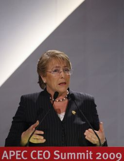 DANGER? Chile's President Michele Bachelet, shown speaking in Singapore last November, will now head the United Nations' new superagency for women. Many pro-life activists are concerned.