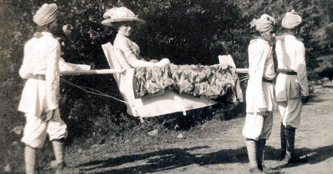 An Englishwoman in a sedan chair, date unknown