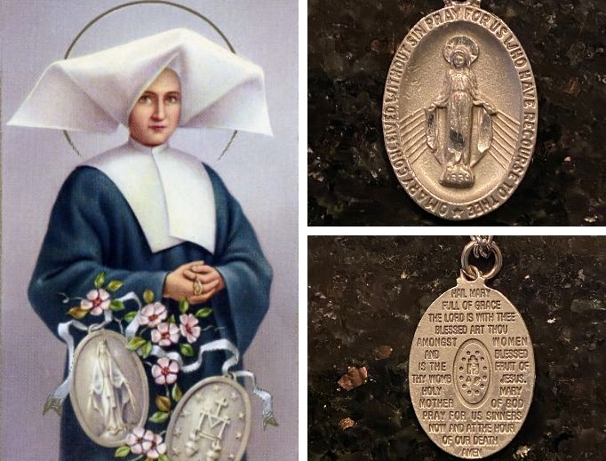 The front of the Miraculous Medial shows a depiction of Mary as she appeared to St. Catherine Labouré on Nov. 27, 1830, in the chapel at Rue de Bac.  The back of the medal includes an  'M' surmounted by a cross above and the Hearts of Jesus and Mary below. The modern design seen here includes the Hail Mary.