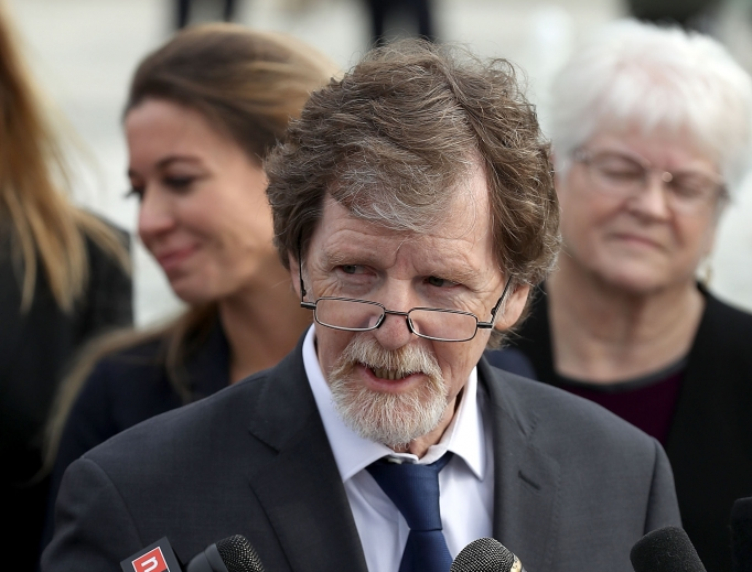 Christian baker Jack Phillips talks to journalists outside of the U.S. Supreme Court building after the court heard the case Masterpiece Cakeshop v. Colorado Civil Rights Commission Dec. 5 in Washington. Citing his religious beliefs, Phillips refused to sell a gay couple a wedding cake for their same-sex ceremony in 2012, beginning a legal battle over freedom of speech and religion.
