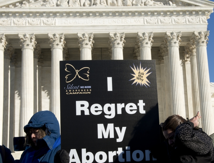 Women gather at the U.S. Supreme Court during the annual March for Life to announce, 'I regret my abortion.'