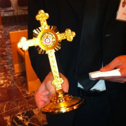 A reliquary holding a piece of cloth containing the blood of Blessed John Paul II from the attempt on his life in 1981.