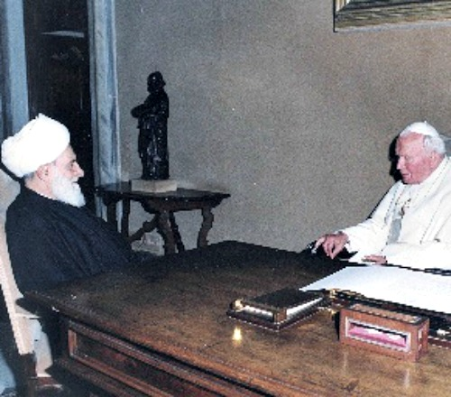 Pope John Paul II meets with Lebanese Aytollah Muhammad Mahdi Chamseddine at the Vatican. Preserving Lebanon's independence was a high priority for the saint, who developed relationships with peace-loving Islamic clerics across the region.