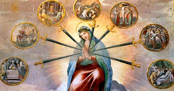 Fresco of the Seven Sorrows of the Blessed Virgin, by Tempesta and Circignani, Santo Stefano Rotondo, Rome.