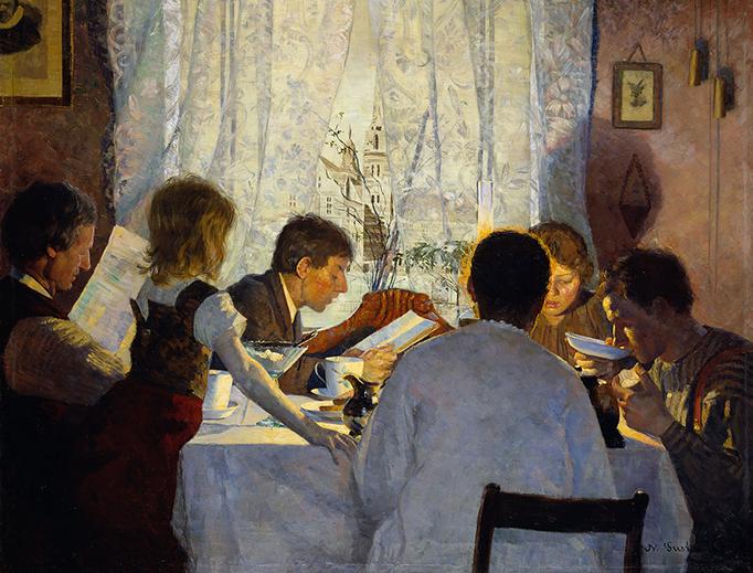 """Gustav Wentzel, """"Breakfast II: The Artist's Family,"""" 1885"""
