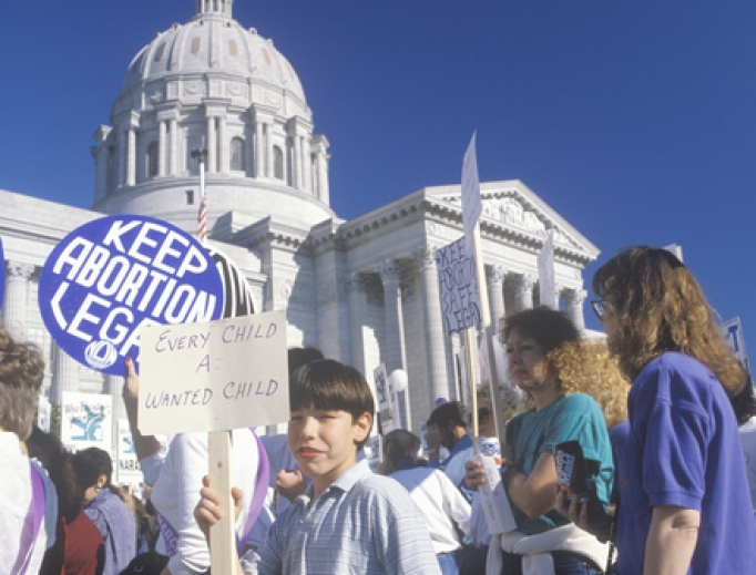 Protesters gather at Missouri's Supreme Court.