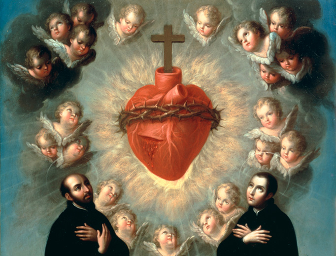"José de Páez, ""Sacred Heart of Jesus with Saint Ignatius of Loyola and Saint Louis Gonzaga,"" c. 1770"