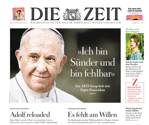 """The headline of the March 9th cover of 'Die Zeit' reads: """"I am a sinner and am fallible""""."""