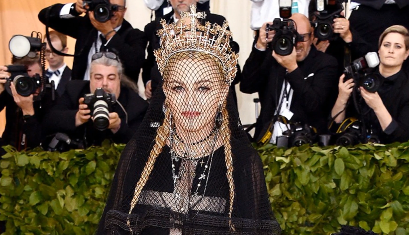 The singer Madonna arriving at the Met Gala before performing her hit single 'Like a Prayer' in front of guests. The Vatican condemned the song's music video in 1989.