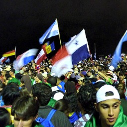 Pilgrims attended the opening Mass of the 28th World Youth Day at Copacabana beach July 23.