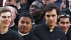 Seminarians greet the Pope April 19 at New York's St. Joseph Seminary.