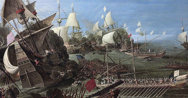 "Circle of Andries van Eertvelt (1590-1652), ""The Battle of Lepanto"""
