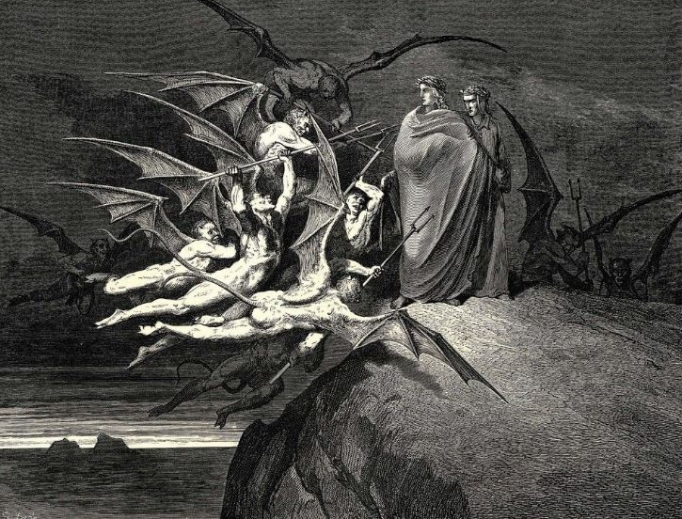 Engraving by Gustave Doré's from Dante's Inferno from 1857, as included on Father Pearson's book cover