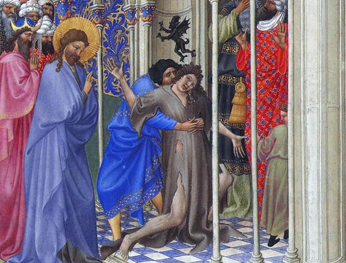 """Les Très Riches Heures du duc de Berry, """"The Exorcism"""", Folio 166r"""
