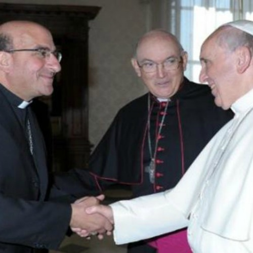 Archbishop Fernando Chomali of Conception meets with Pope Francis.