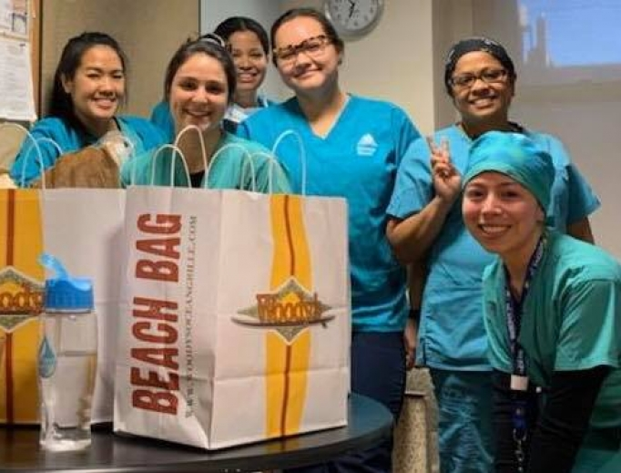 Night-shift nurses at Mount Sinai in New York City who couldn't get take-out because of restrictions until Woody's Ocean Grille in Sea Bright, NJ, sent them food.