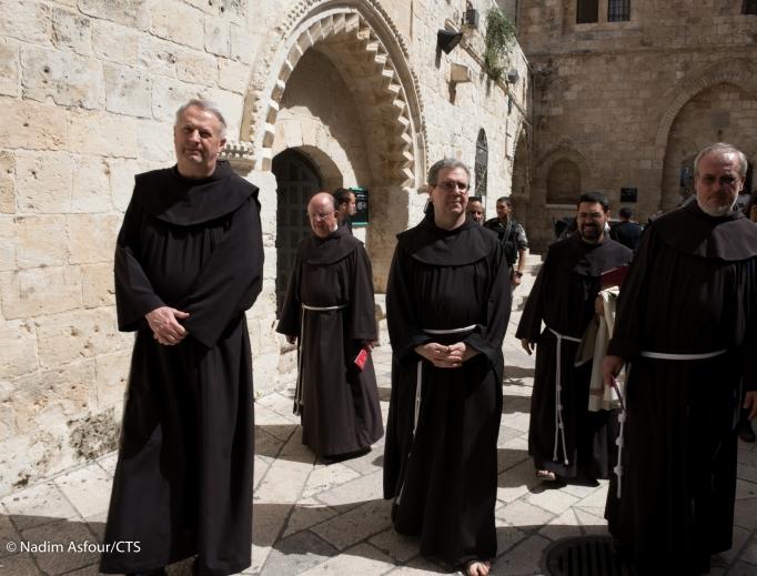 Franciscans visit the Cenacle (the Upper Room) in Jerusalem.