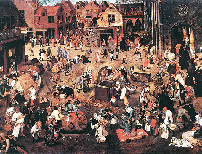 """Pieter Bruegel the Younger (d. 1636), """"The Fight Between Carnival and Lent"""""""