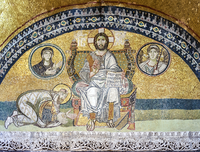The Imperial Gate mosaic in Hagia Sophia of Constantinople. Emperor Leo VI the Wise is bowing down in worship before Christ Pantocrator.