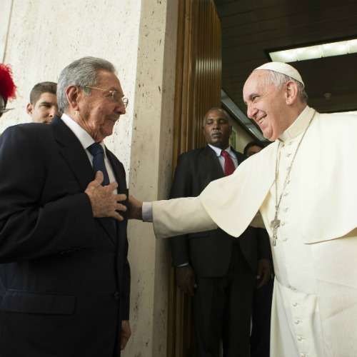 Pope Francis meets with Cuban President Raul Castro at the Vatican May 10.