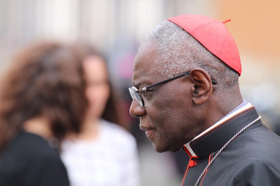 Cardinal Robert Sarah leaving the synod hall, Oct. 16, 2018.