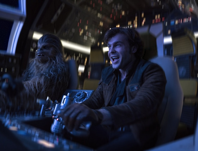 DYNAMIC DUO. Han Solo (Alden Ehrenreich) and Chewbacca (Joonas Suotamo) team up in Solo: A Star Wars Story, which relates how the iconic friends met.