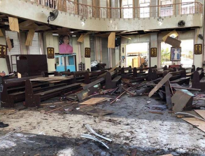 The inside of Our Lady of Mount Carmel Cathedral in Jolo, Philippines after the attack, January 27, 2019.