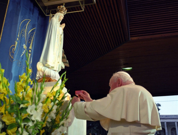 Pope John Paul II visits the Fatima Shrine in Portugal on May 13, 2000.