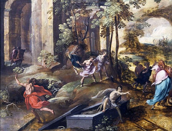 """Jan Nagel, """"The Miracle at the Grave of Elisha,"""" 1596"""