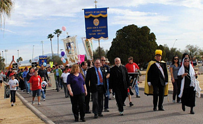 ARIZONA THRONG. Bishop Gerald Kicanas of the Diocese of Tuscon leads the March for Life through the city that concluded with all-night Eucharistic adoration.