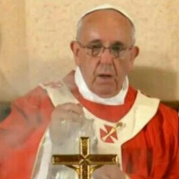 Pope Francis incenses the altar during Mass in the Upper Room on May 26.