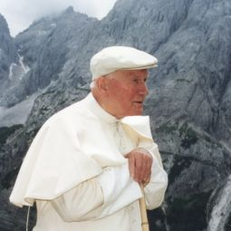Pope John Paul II walks in the Italian Alps July 15, 1996. The Pope, who was once an avid skier, loved to spend time in the mountains.