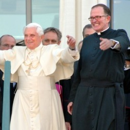 CATHOLIC IDENTITY. Bishop David O'Connell said Catholic colleges and universities have 'beautiful guidelines' in Ex Corde Ecclesiae and Pope Benedict's address to U.S. Catholic educators at The Catholic University of America in 2008. Then-Father O'Connell hosted Pope Benedict XVI's visit.