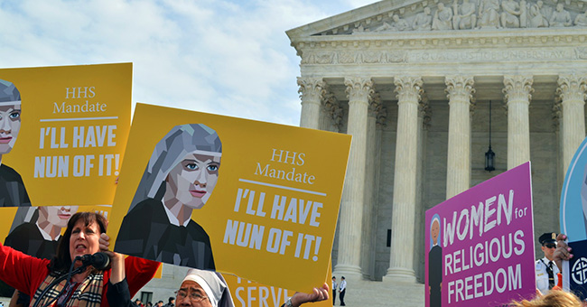 Religious sisters show their support of the Little Sisters of the Poor outside the Supreme Court where oral arguments were heard on March 23, 2016 in the Zubik v. Burwell case against the HHS Mandate.