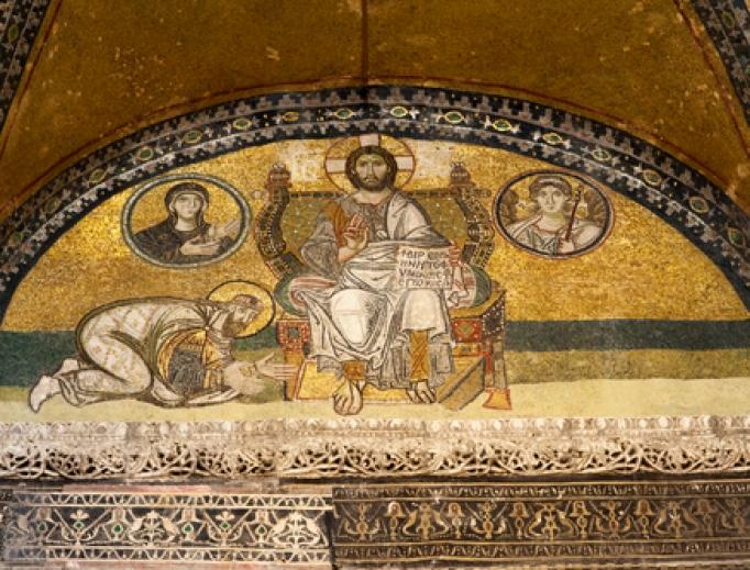A mosaic of Jesus Christ inside the Hagia Sophia.