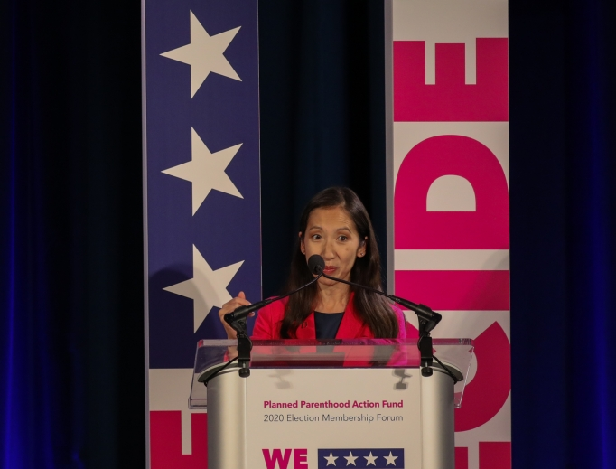 Dr. Leana Wen, shown addressing the crowd at the 'We Decide: Planned Parenthood Action Fund 2020 Election Forum to Focus on Abortion and Reproductive Rights' event in Columbia, S.C. on June 22, was removed as the president and CEO of the Planned Parenthood Federation of America earlier this month.