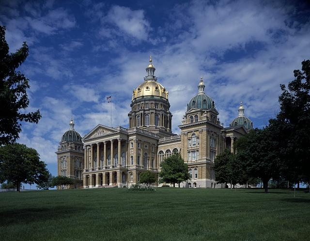 The Iowa Capitol is located in Des Moines.