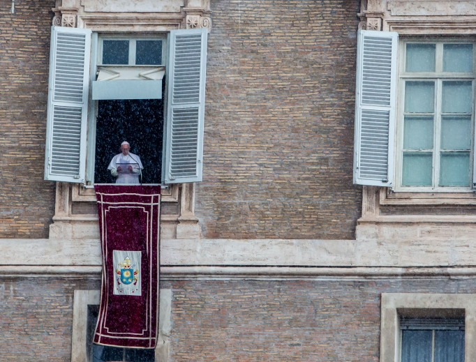Pope Francis addresses the faithful during his Angelus address Oct. 28.